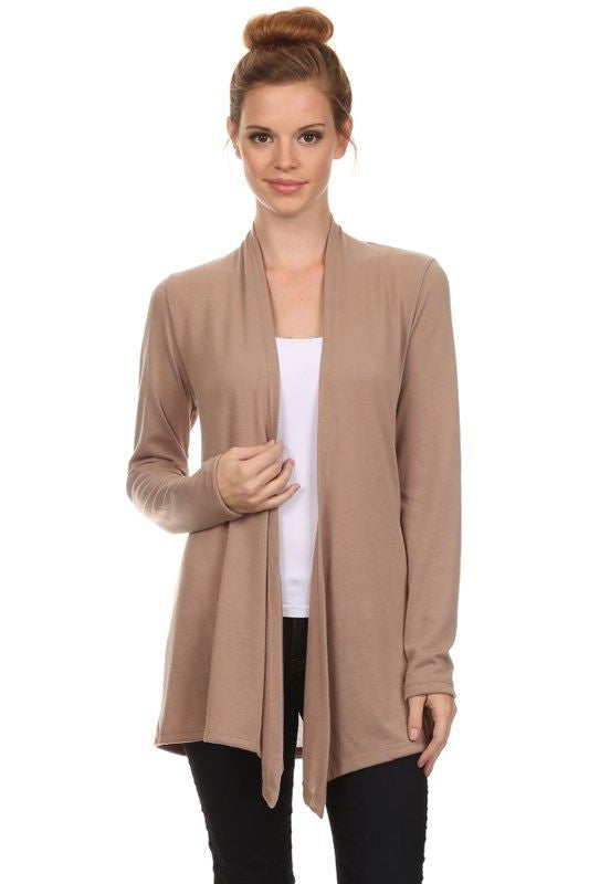 Made in USA Women's Lightweight Taupe Cardigan Front