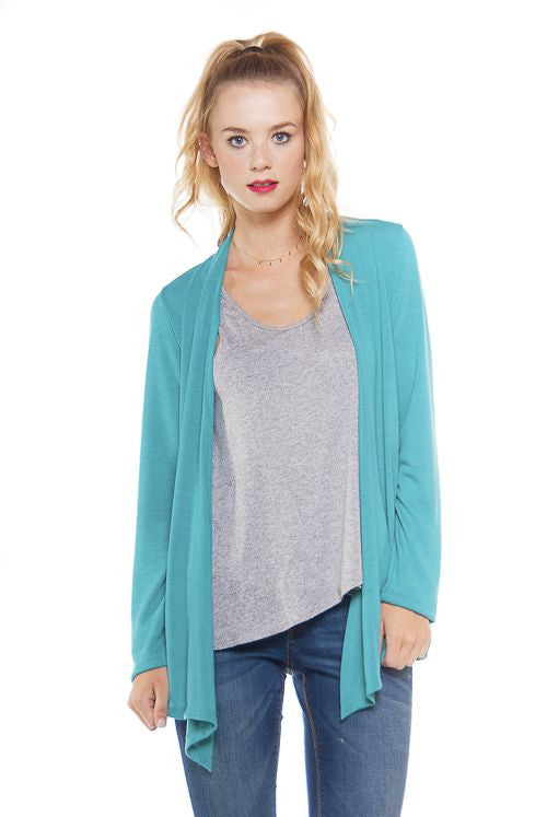 Made in USA Women's Turquoise Blue Lightweight Open Front Cardigan