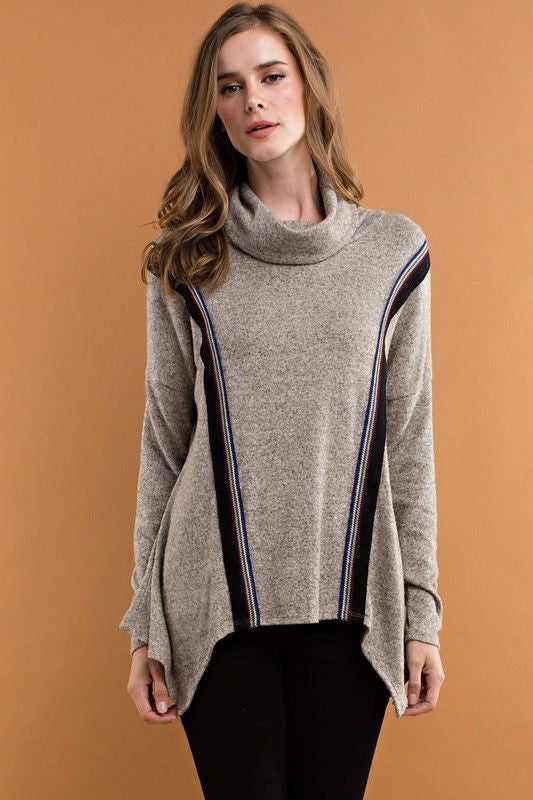 American Made Women's Grey Handkerchief Hem Tribal Trim Sweater Front