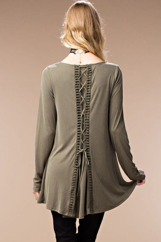 American Made Women's Cupro Lace Up Back Top in Olive Back