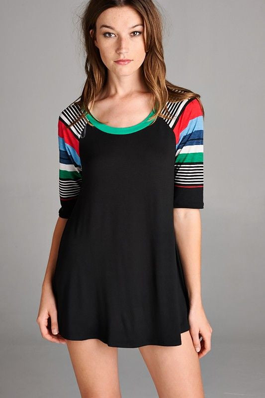 American Made Women's Black Tunic Top with Striped Half Sleeves Front View