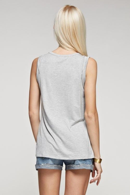 American Made Women's Floral Mixed Media Tank Top in Grey Back