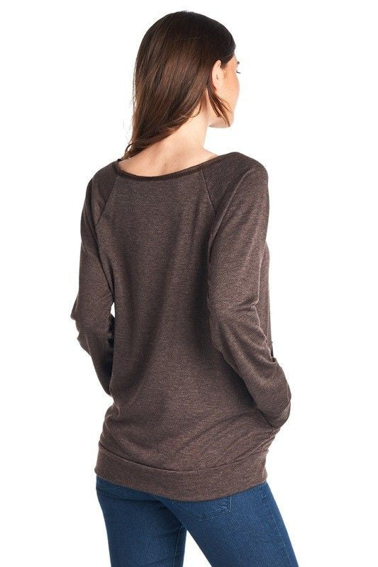 American Made Women's Forever Wandering Slogan Sweatshirt in Brown Back
