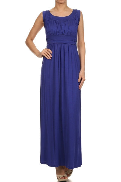 American Made Women's Blue Ruched Bust Maxi Dress from Gilli Front