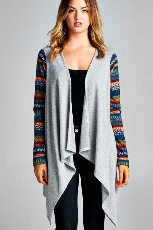 American Made Open Cardigan with Colorful Fair Isle Sleeves Front
