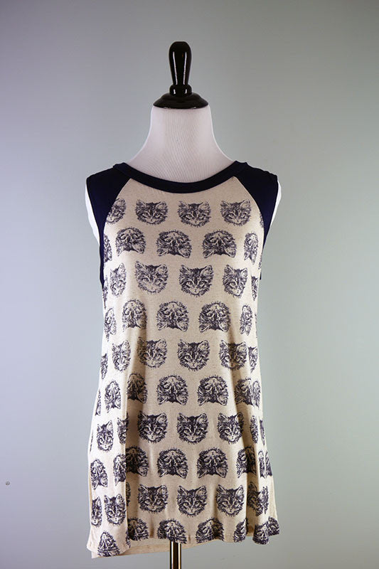 American Made Women's Cat Tank Top in Navy