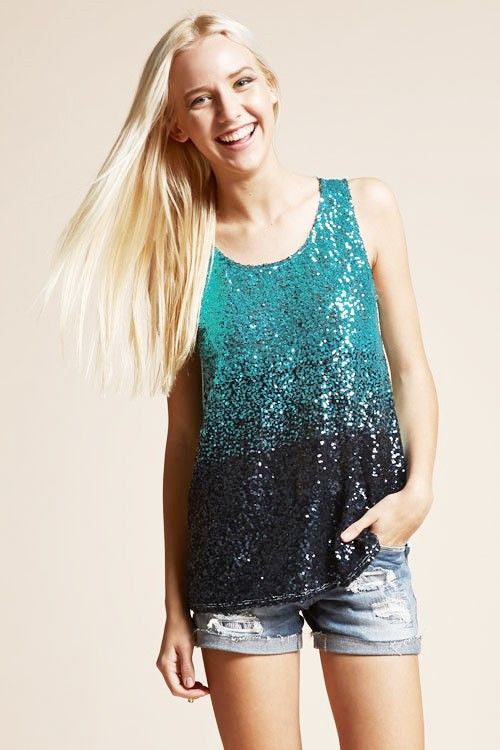 American Made Women's Aqua Sequin Tank Top Front