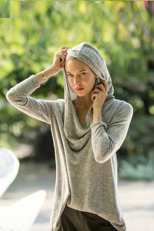 American Made Women's Heather Grey Convertible Hoodie Front