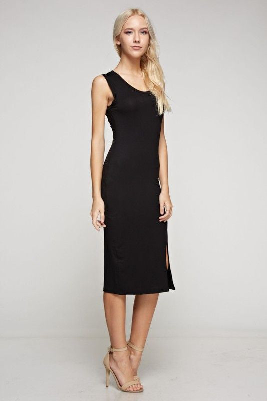 American Made Women's Black Bodycon Midi Dress Side View Alt