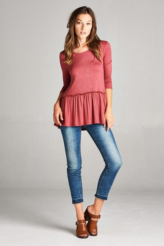 American Made Women's Red Ruffle Top Front