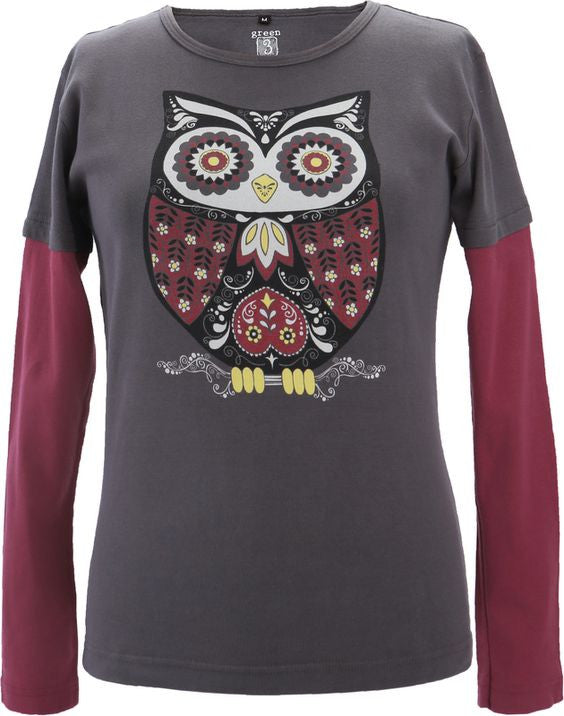 America Made Women's Owl Print Long Sleeve Layered T-Shirt