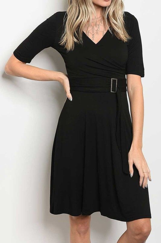 American Made Women's Black A-Line Belted Dress Front