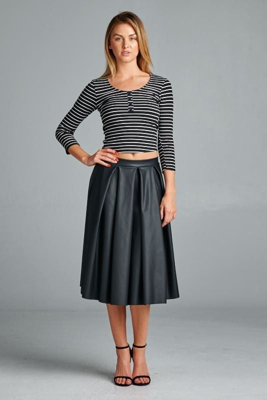 Made in the USA Black Faux Leather Pleated Midi Skirt