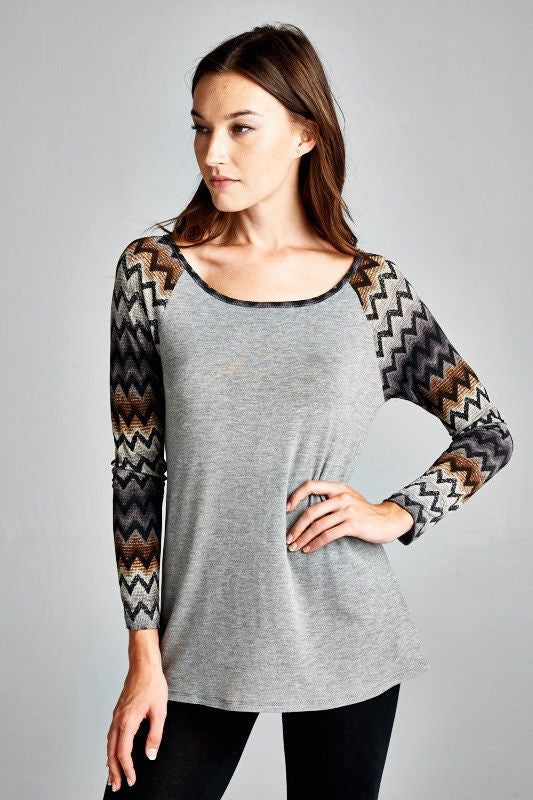 Made in USA grey raglan t-shirt with ombre chevron print sleeves