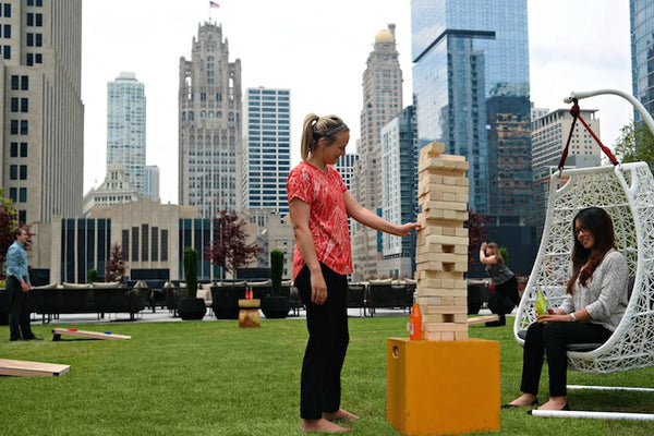 Giant Jenga rooftop Chicago