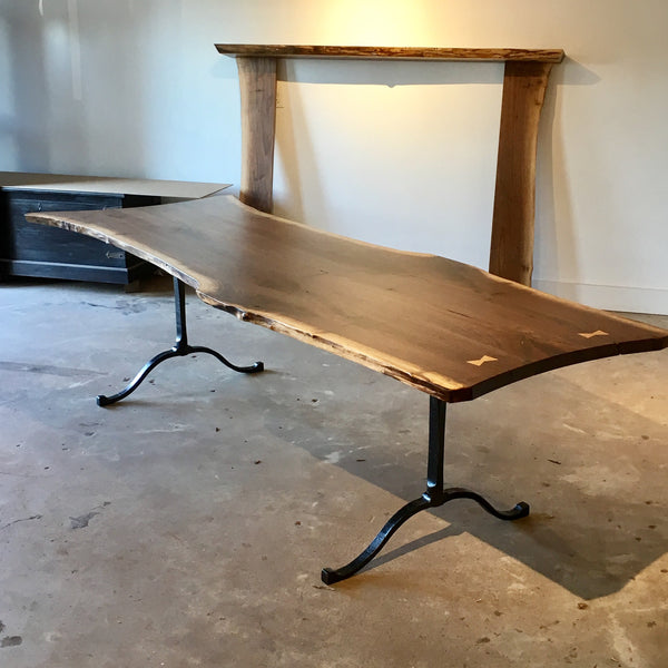 Live-Edge Walnut Dining Table with Forged Legs