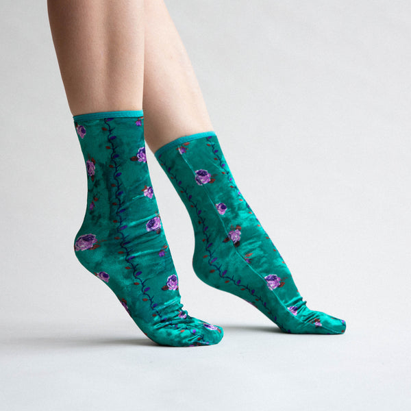 Rose Velvet Socks - Green / Purple