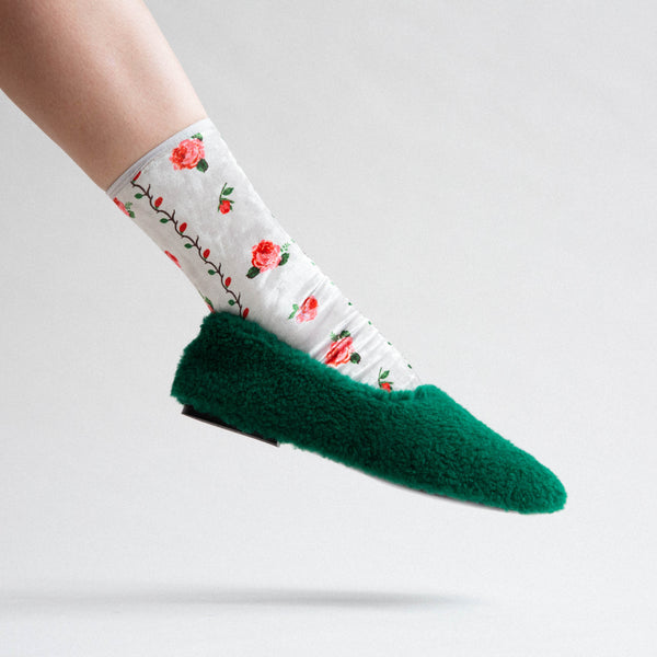 Rose Velvet Socks - White / Red