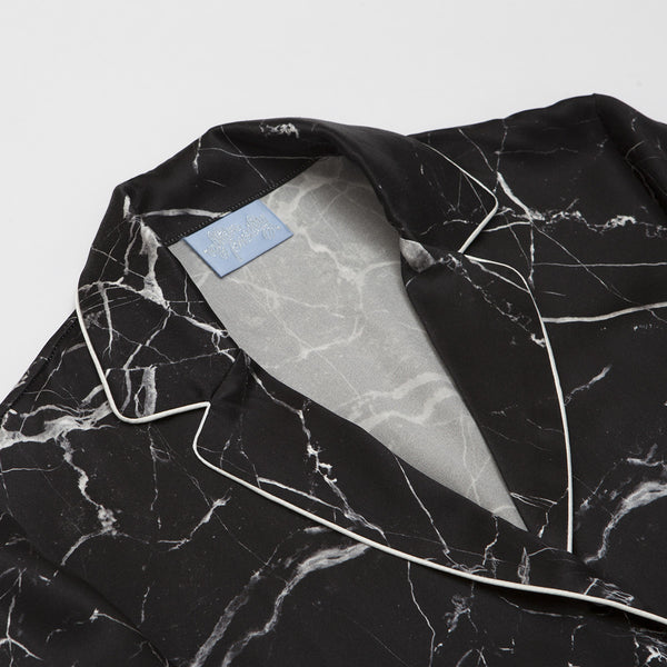 FINAL SALE - Tombstone Black Silk Pyjama Shirt