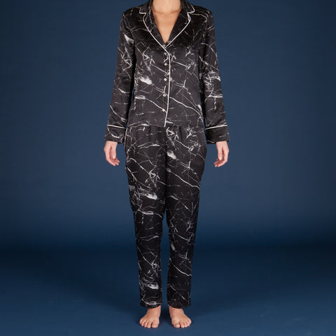 Tombstone Black Silk Pyjama Set