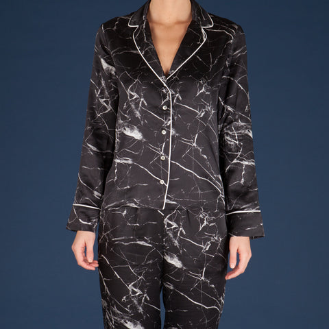 Tombstone Black Silk Pyjama Shirt