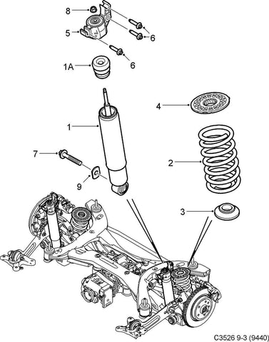 Genuine Saab 9-3 AWD Sport Combi Rear Shock ('08-'10) P/N 12848631. - Saab Parts Depot