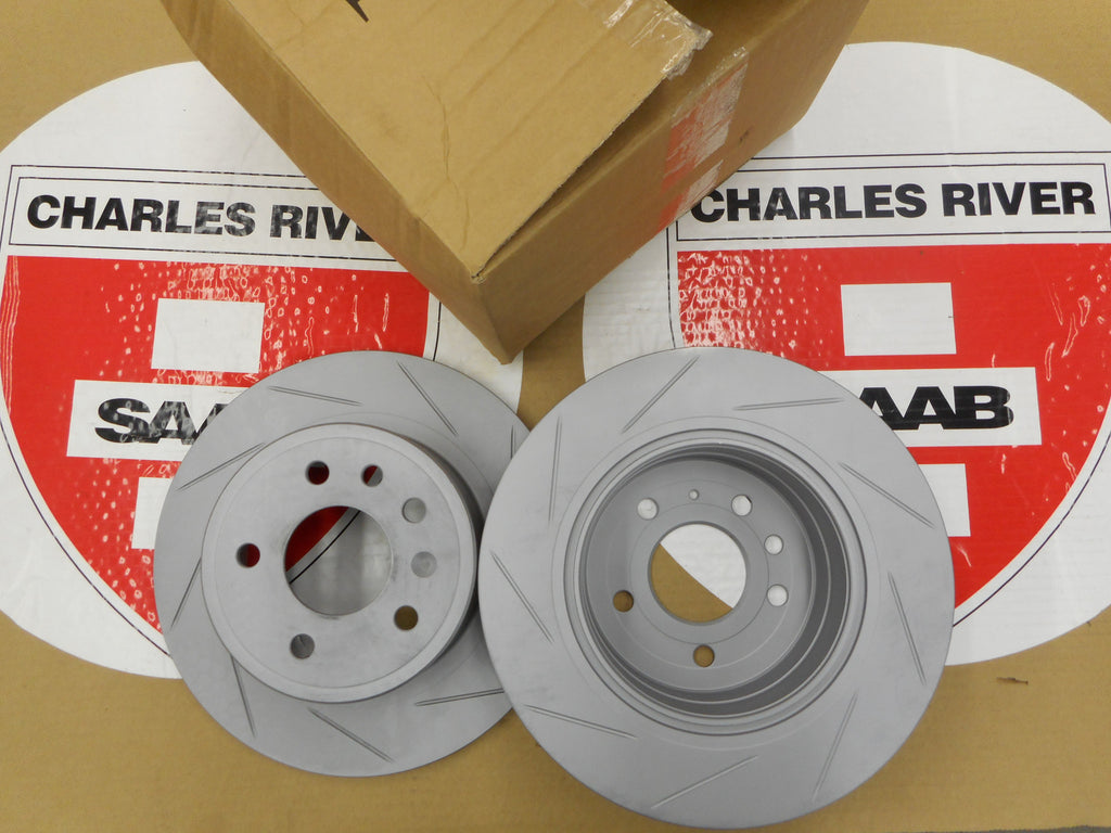 "Saab Genuine Slotted Rear Brake Rotors for 1999-02 ""93"" Viggen only!! P/N 5084751. Sold as a Pair. - Saab Parts Depot  - 1"