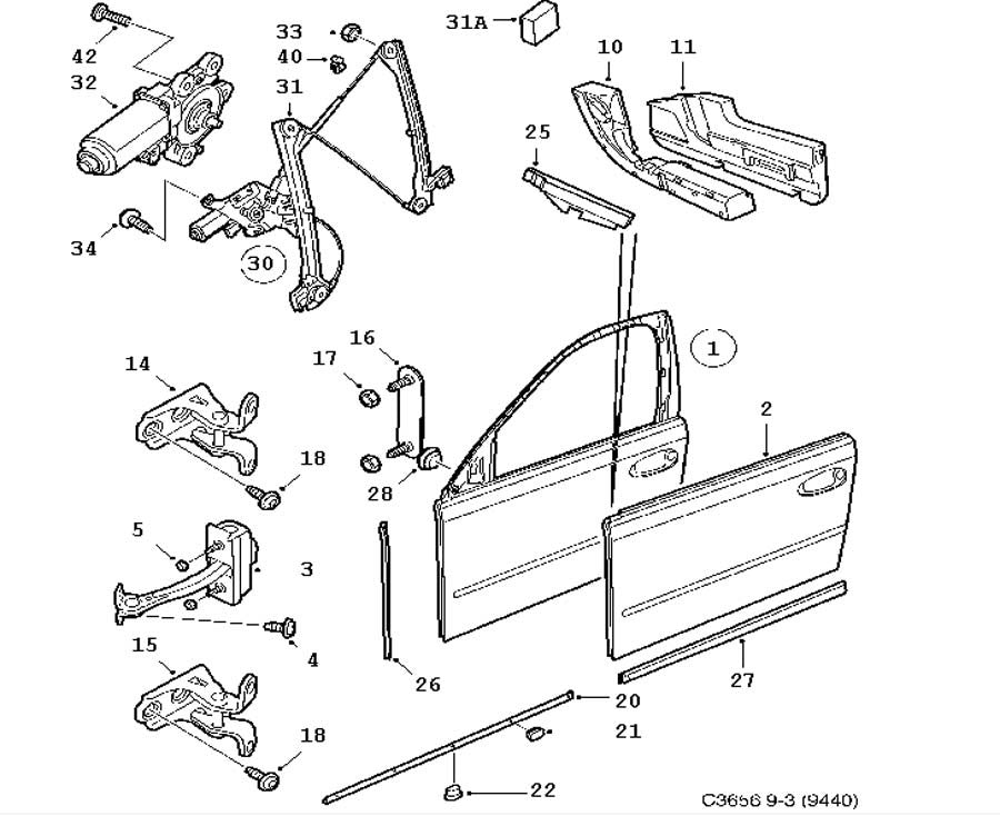 Window Regulator (12805988) - 9-3 - Saab Parts Depot