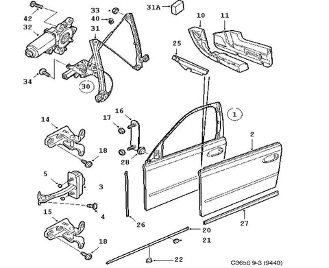 Window Regulator (12842436) - 9-3 - Saab Parts Depot