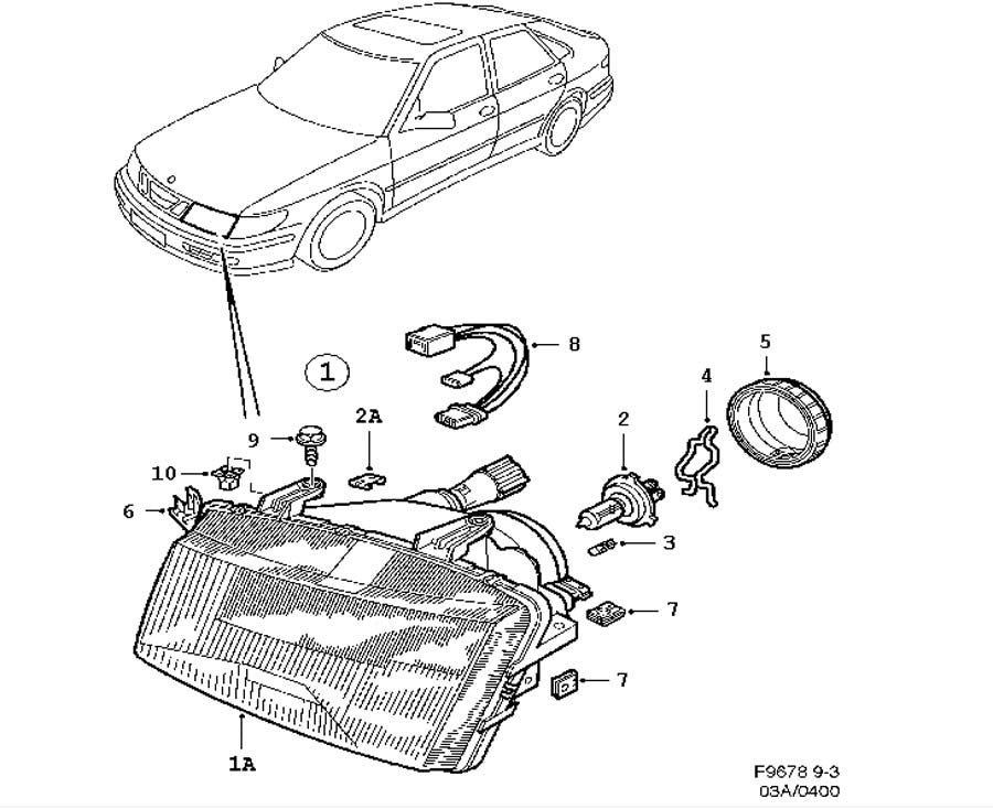 Headlight Lens Kit - Passenger Side (5288964) - 9-3