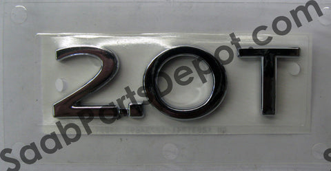 "Emblem Rear (Trunk) - ""2.0 T"" (12831841) - 9-3 - Saab Parts Depot"