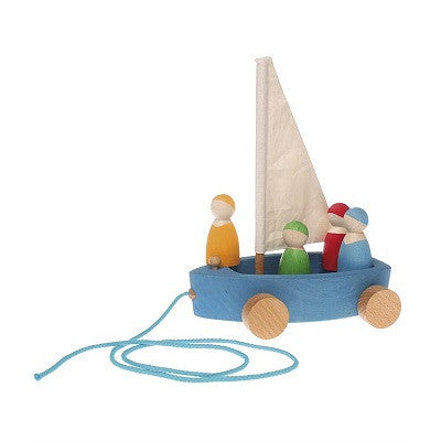 Wooden Sail Boat with Wheels
