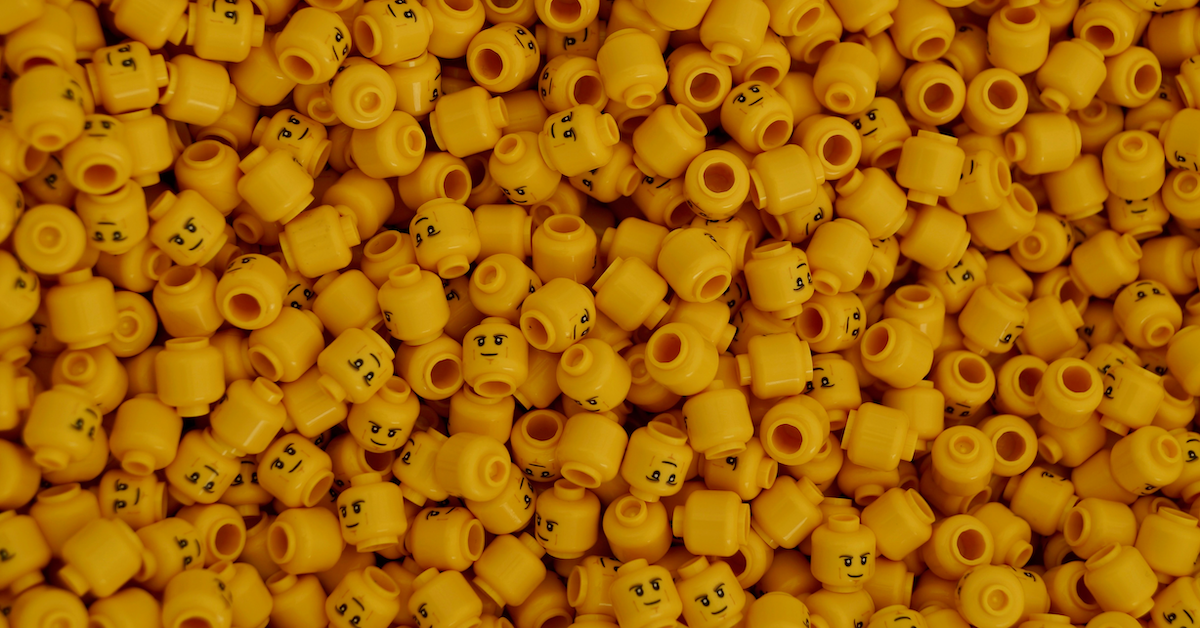 A sea of yellow LEGO figurine heads