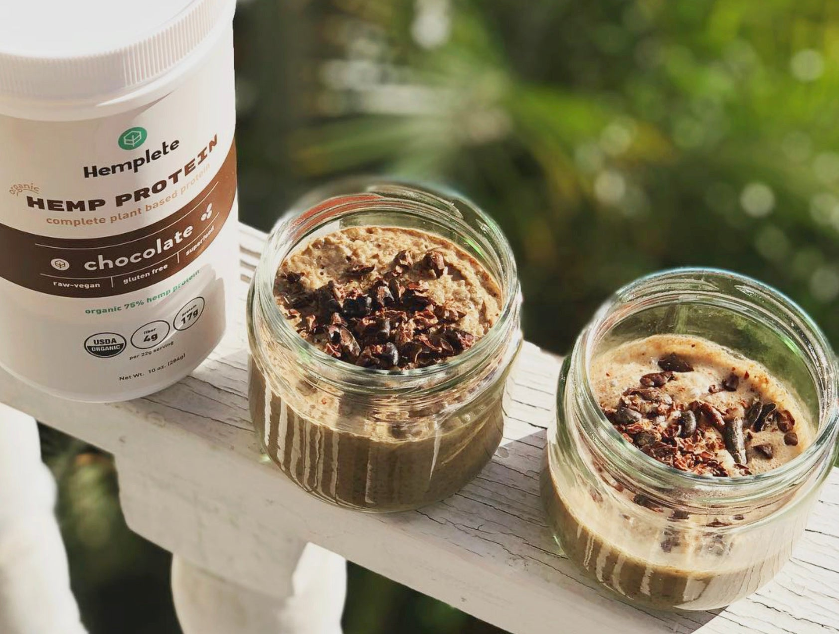 Hemp protein powder and smoothies on display
