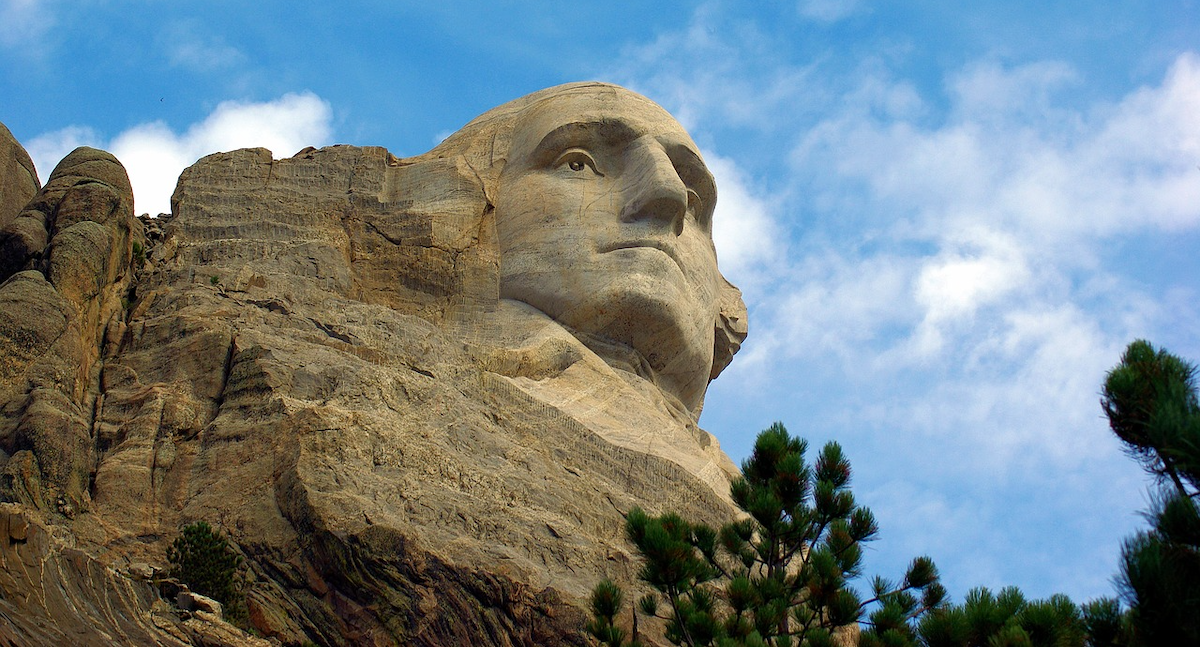 George Washington's face on Mt Rushmore