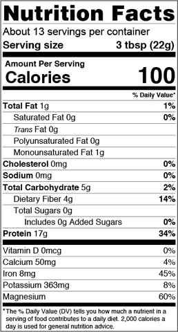 unflavored 75% hemp protein nutrition facts