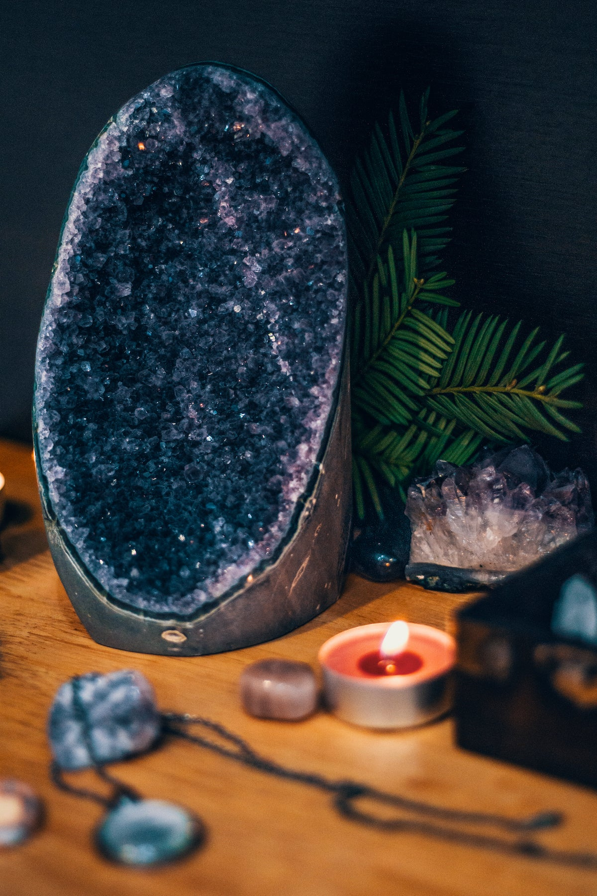 A stress-free workspace with rocks and candles