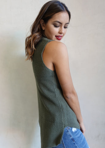 sleeveless turtleneck top - high low top - holiday look - winter top - knit turtleneck