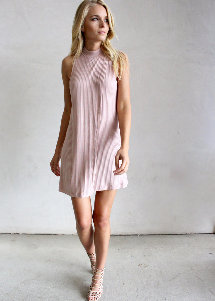 KERRY BLUSH HIGH NECK DRESS - JD LUXE