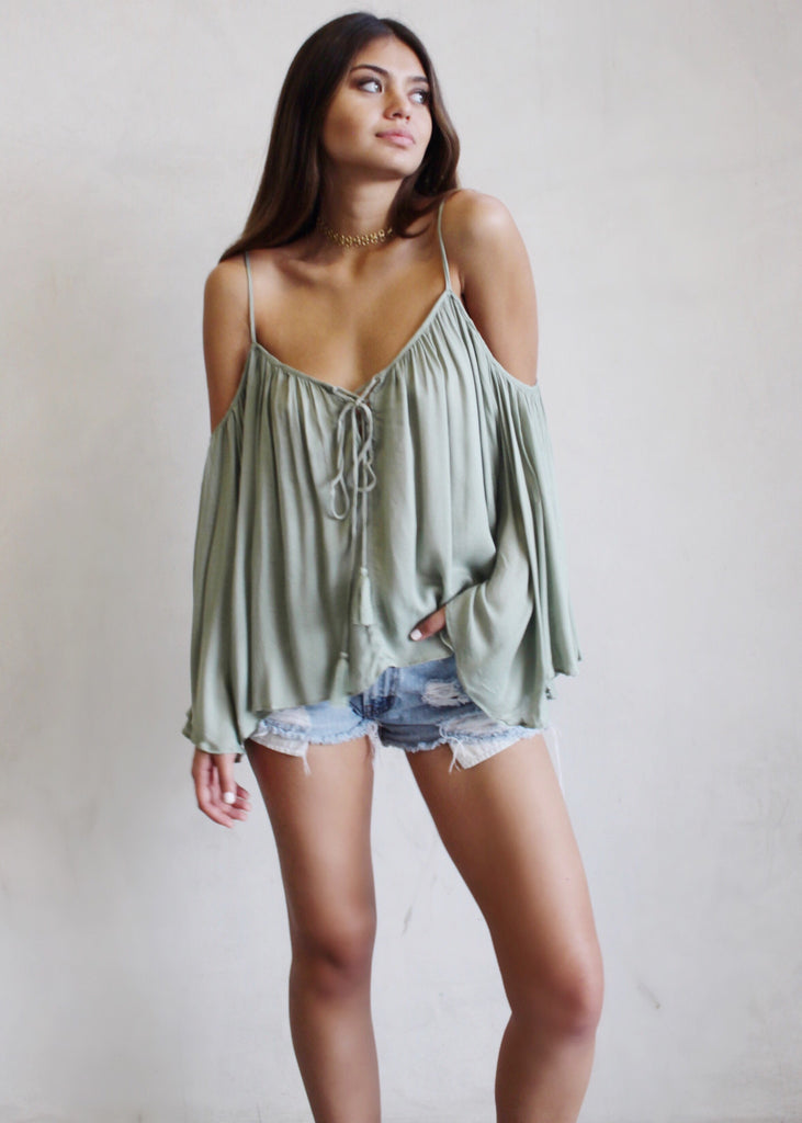 SAGE FLOWY TOP - JD LUXE