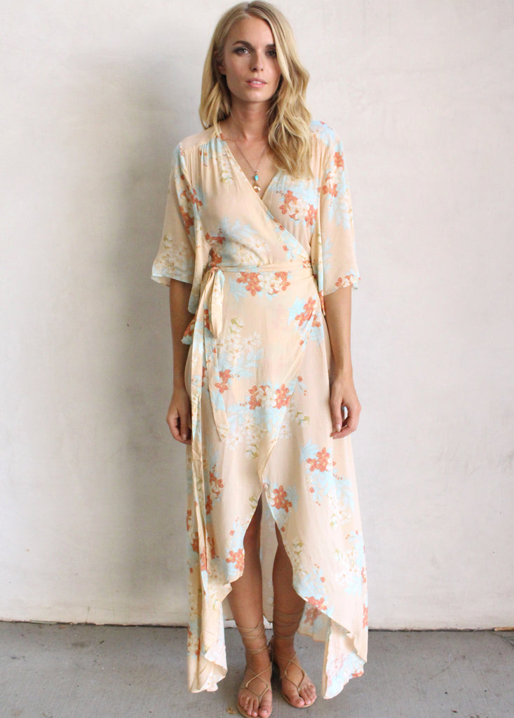 MANDALAY FLORAL WRAP DRESS - JD LUXE