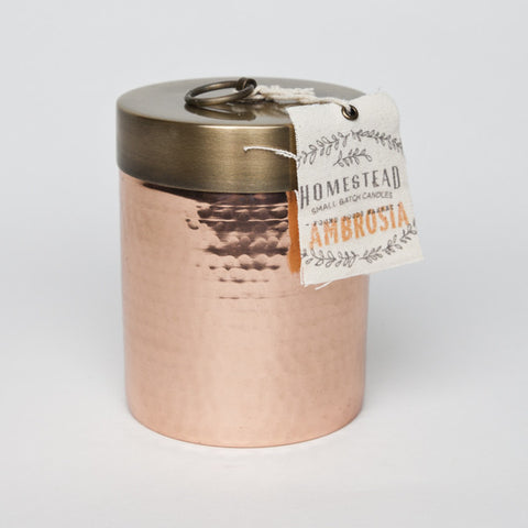 HOMESTEAD CANDLE HAMMERED CANISTER - AMBROSIA