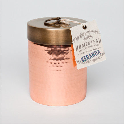 HOMESTEAD CANDLE HAMMERED CANISTER - VERANDA