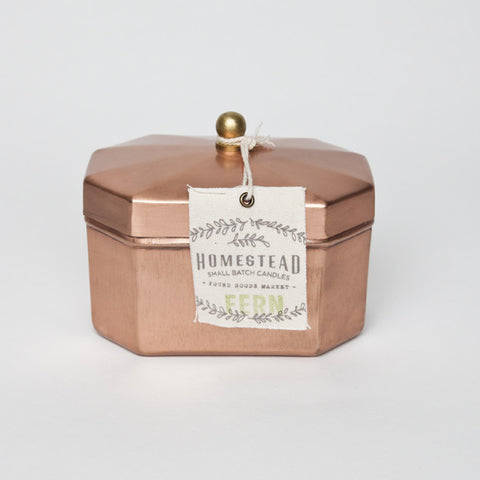 HOMESTEAD CANDLE OCTAGON TEA TIN - FERN
