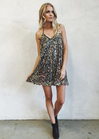THE BRIXTON SEQUIN HALTER DRESS