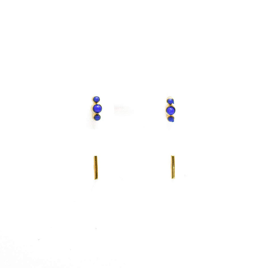MINI STICK + LAPIS EARRING SET - JD LUXE