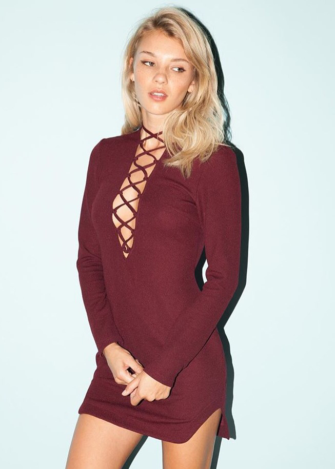 FARON LACE UP DRESS - JD LUXE