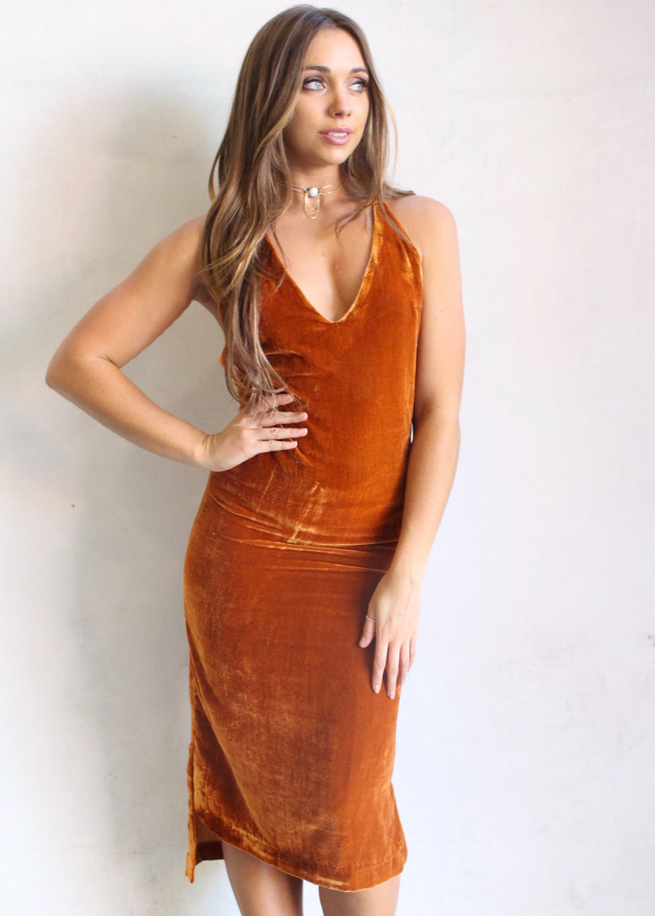 AMBER VELVET PARTY DRESS - JD LUXE