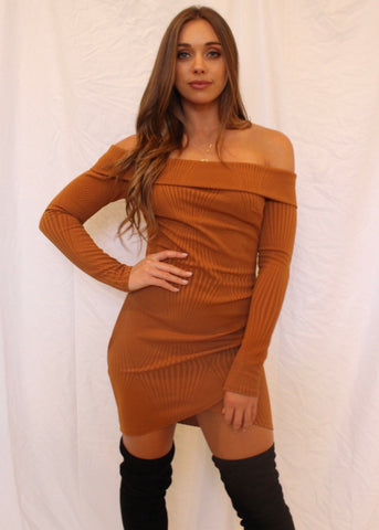 HONEY OFF-THE-SHOULDER DRESS