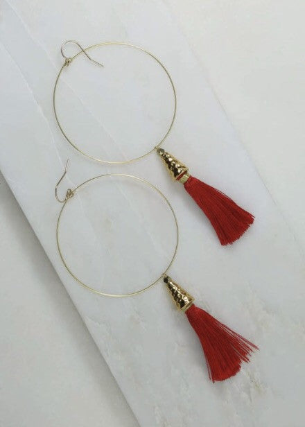 VANESSA MOONEY THE SUMMER OF LOVE TASSEL HOOP EARRINGS - JD LUXE